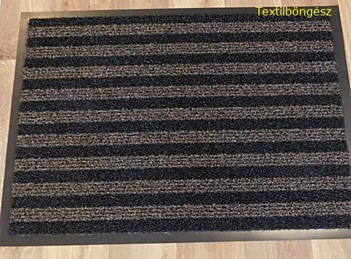 Gumiszélű műanyag betétes lábtörlő 60x80cm barna csíkos/Cikksz:112001