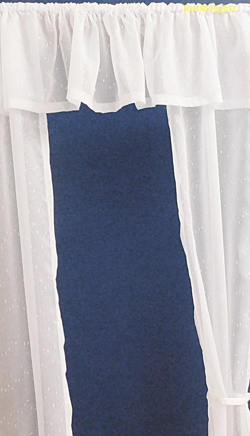 Fehér sable kész függöny kék organza mintával/75x90cm/Cikksz:01150994