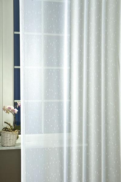 Fehér voila kész függöny zöld nyírt mintával H.A.C./Cikksz:01121016