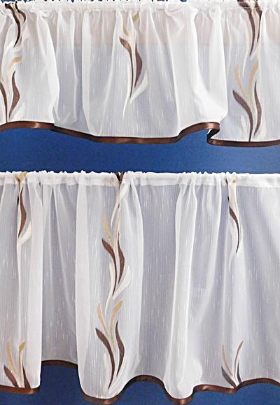 Fehér sable kész függönyszett konyhai mintás 2 részes/Cikksz:133030