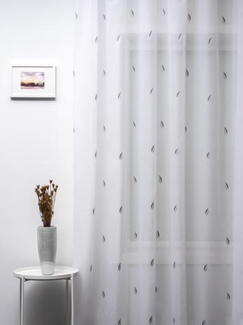 Fehér jaquard vitrage függöny szürke karikás 90x98cm