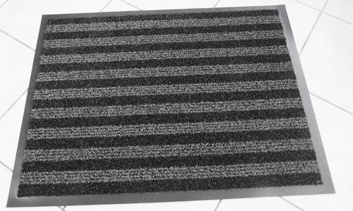 Gumiszélű műanyag betétes lábtörlő 60x80cm szürke csíkos/Cikksz:1110013