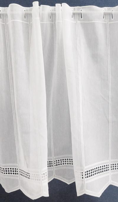 Fehér -ezüst virágos mart organza maradék függöny 123x210cm széles/Cikksz:1240412