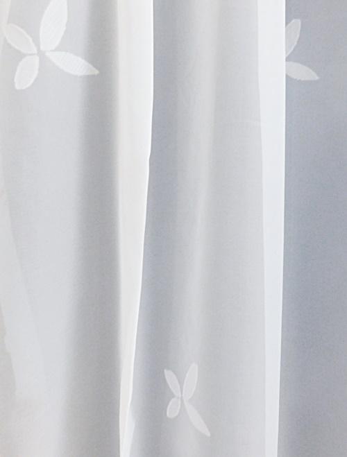 Fehér organza kész függöny zöld arany nyírt mintával/Cikksz:01150034