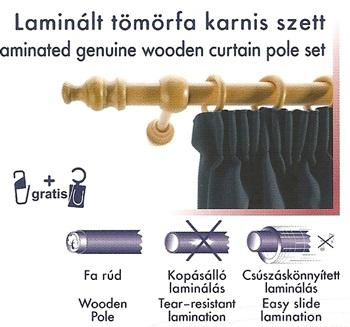 Laminált tömörfa karnis szett, natúr/200cm/Cikksz:095004