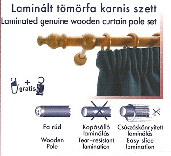 Laminált tömörfa karnis szett, cseresznye/160cm/Cikksz:095007