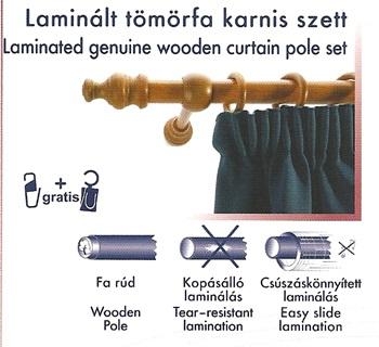Laminált tömörfa karnis szett, cseresznye/200cm/Cikksz:095008