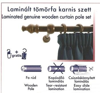 Laminált tömörfa karnis szett, dió/140cm/Cikksz:095010