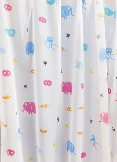 Gyerekmintás voila kész függöny fehér állatkás AM./Cikksz:0710345