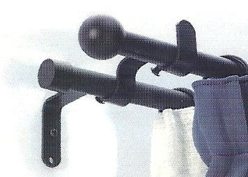 Hajlított dupla tartó 16mm-es rúdkarnishoz fekete/Cikksz:0940023