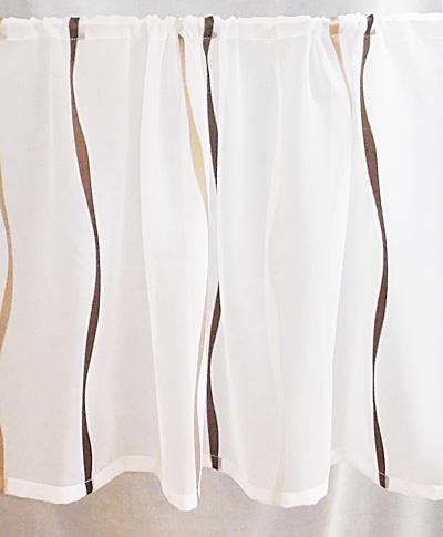 Fehér voila kész vitrage függöny barna drapp nyírt mintával A.C.H./90/Cikksz:01122385
