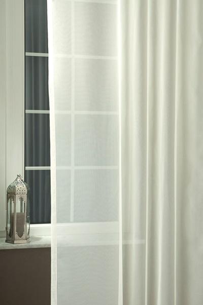 Fehér sable kész függöny kék ezüst organza mintával/180x330cm/Cikksz:01121170