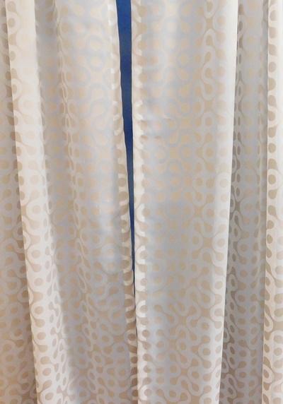 Fehér voila kész függöny nyírt mintával barna négyzet A.C.N./90x110cm/Cikksz:01151451