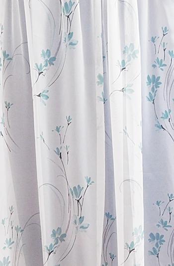 Fehér voila kész függöny türkisz virágos 200x330cm/Cikksz:01150268