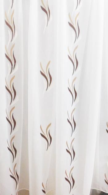 Fehér voila maradék függöny barna drapp nyírt Szirom A.C. 80x200cm/Cikksz:1240256