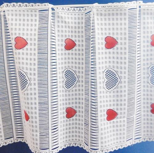 Fehér jaquard maradék vitrage függöny piros szivecskés 45x94cm/Cikkszám:0710304