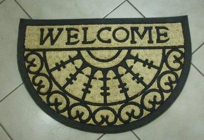 Lábtörlő Welcome gumi -kókusz 40x60cm, félkör /Cikksz:111052