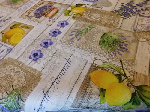 Vízlepergető textil maradék levendula citrom 140x95cm