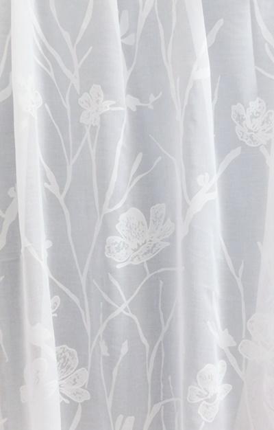 Fehér voila kész függöny zöld narancs karikás 130x130cm/Cikksz:01121013