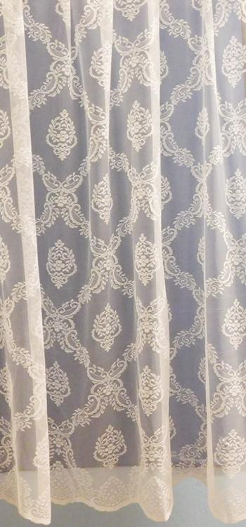 Drapp beige hímzett fehér voila maradék függöny 110x240cm/Cikksz:01150123