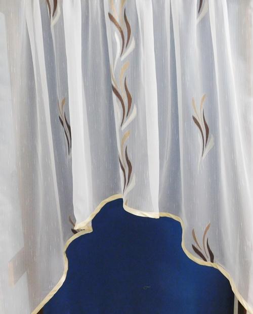 Fehér sable kész függöny élénk rózsaszín mintával/Cikksz:01150778