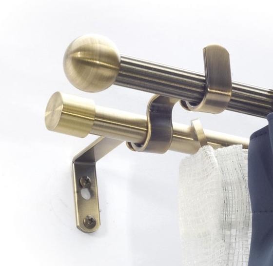 Hajlított dupla tartó 16mm-es rúdkarnishoz antik arany/Cikksz:0940300
