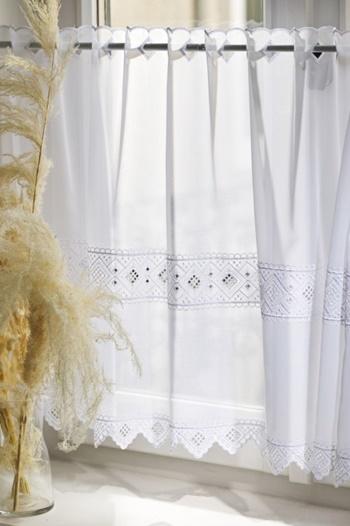 Fehér voila kész függöny szürke nyírt mintával A.C.O./160/Cikksz:01122264