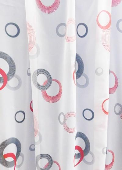 Fehér voila maradék függöny piros szürke karikás 107x650cm