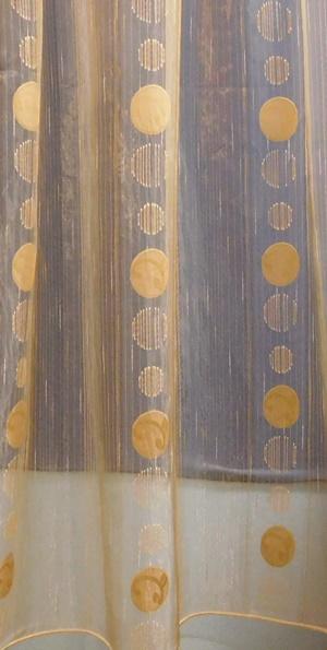 Fehér voila kész függöny zöld nyírt mintával H.A.C./250x400cm/Cikksz:01131107