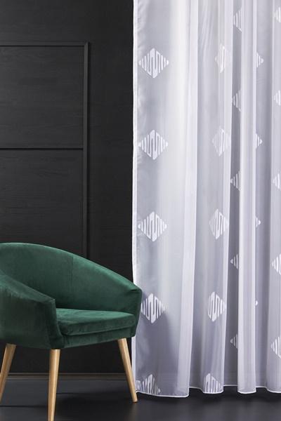 Fehér voila kész függöny fehér nyírt mintával A.C.H./100/Cikksz:01121015