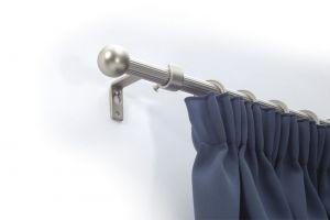Egysoros matt-cróm rúdkarnis garnitúra, 140cm hosszú, Gömb véggel/Cikksz:0940129