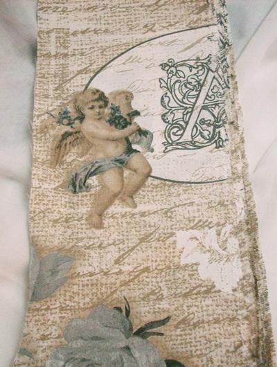 Barna szürke rózsás, angyalos vászon maradék 12x55cm  2 darab egyben/Cikksz:1231418