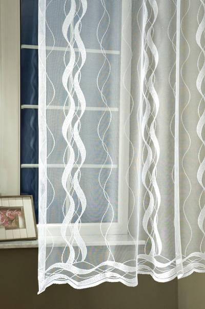 Fehér hullámos mintás jaquard 3988 kész függöny 180x400cm