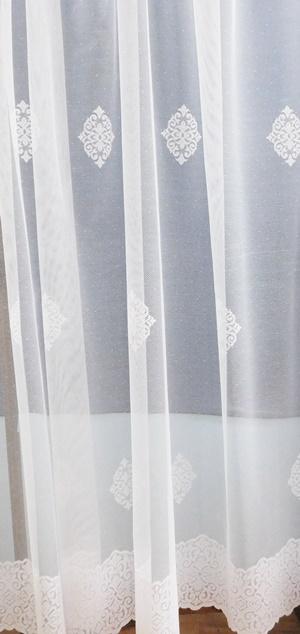 Fehér voila kész függöny türkisz virágos 160x280cm/Cikksz:01150203