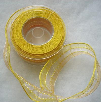 Sárga szalag, organza 40mm/Cikksz:15003