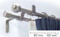 Kétsoros matt króm fém rúdkarnis garnitúra,120cm hosszú, Gömb véggel/Cikksz:0940140