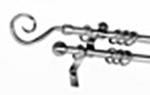 Kétsoros matt-cróm fém rúdkarnis garnitúra,140cm hosszú, pásztor véggel/Cikksz:0940167