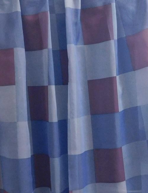 Kék kockás maradék függöny II.O 140x290cm