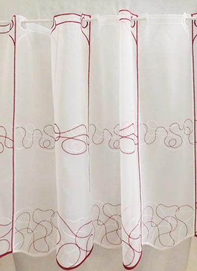 Fehér voila függöny színes Pötyi méterben KIFUTÓ! 50%/Cikksz:01140045