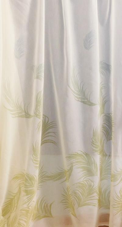 Fehér gyűrt voila maradék függöny sárga narancs virágokkal 90x280cm/Cikksz:01130790