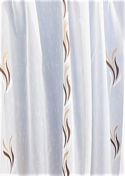 Fehér voila függöny barna drapp nyírt Szirom A.C. méterben/Cikksz:01140046