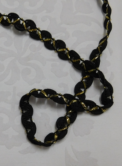 Csipke szalag fekete arany 1 cm-s/Cikksz:150140