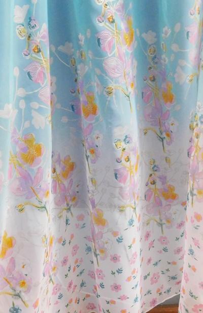Ecrü organza maradék függöny lila drapp minta 115x195cm/Cikksz:01122127