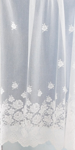 Fehér voila kész függöny virágos A./Cikksz:01150788